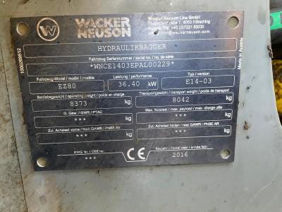 Wacker EZ 80 Elite - 8 Tonnen Minibagger